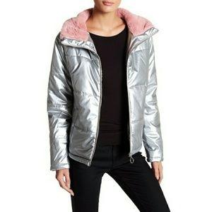 ABOUND Silver Puffer Pink Fur Collar Down Jacket M